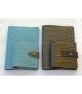 porte passeport & porte préservatif bleu et marron glacé façon croco