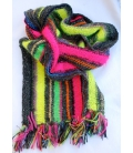 Hand knitted winter multicolored scarf MERIBEL
