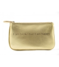 Leather golden clutch HAPPY