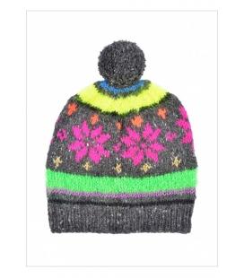 Bonnet jacquard tricoté main SNOWFLAKE