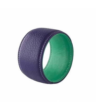 Bracelet manchette cuir violet bicolore SYLVIE gm