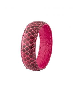 "Cuff bracelet in leather and snakeskin ""SYLVIE"""