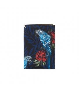 Porte passeports Gemma perroquets bleu