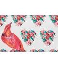 Pochette bicolore oiseaux & coeurs