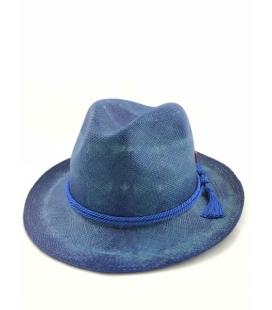Chapeau Panama Fedora Bleu