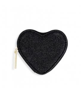 Porte monnaie COEURS noir pailleté
