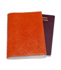 Stamped leather passport cover ORANGE