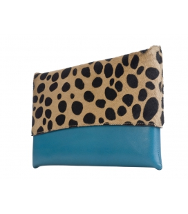 Leather and leopard print clutch MAPUTO